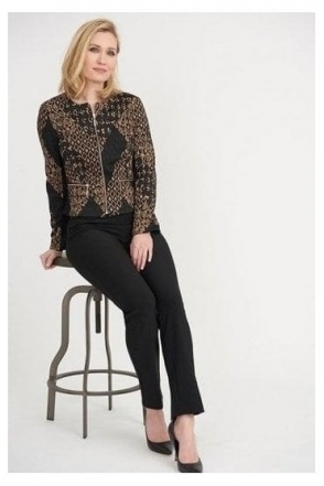 Geometric Print Textured Zip Jacket - Black/Taupe - 203595