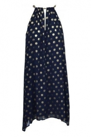 Gold Spot Chiffon Chain Dress (Navy) - 181609