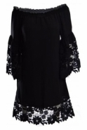 Joseph Ribkoff Guipure Bell Sleeve Dress (Black) - 181242