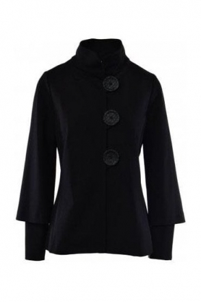 High Collar Button Detail Jacket - 183357