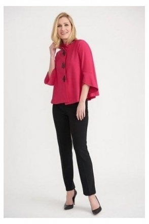 High Collar Button Detail Jacket - Peony Pink - 193198