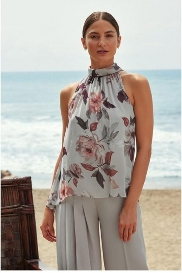High Neck Floral Print Chiffon Top - Grey/Multi - 201223