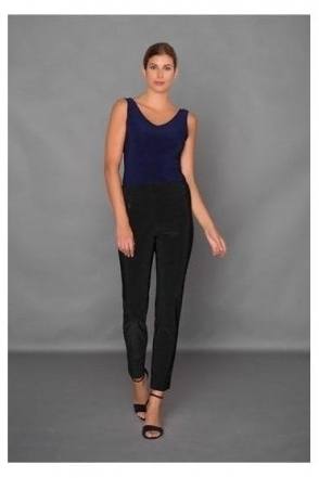 High Waist Slim Leg Trousers - Black - 144092-11