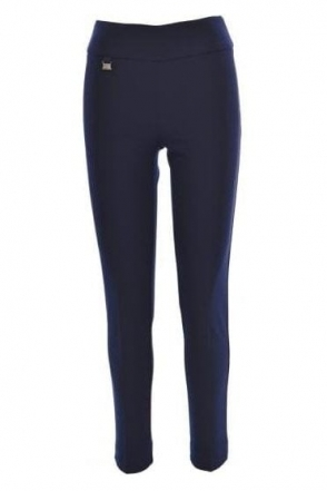 High Waist Slim Leg Trousers - Midnight - 144092-2166