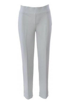 High Waist Slim Leg Trousers - White - 144092