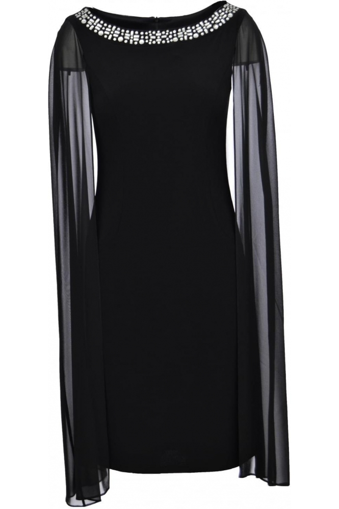 Joseph Ribkoff Jewel Cape Dress (Black) - 171258