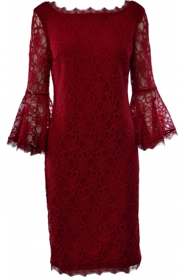 Lace Overlay Bell Sleeve Dress - Bordeaux - 183500