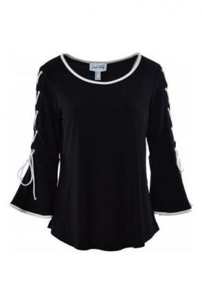 Lace Up Bell Sleeve Detail Top (Black) - 183167