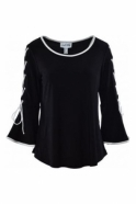 Joseph Ribkoff Lace Up Bell Sleeve Detail Top (Black) - 183167