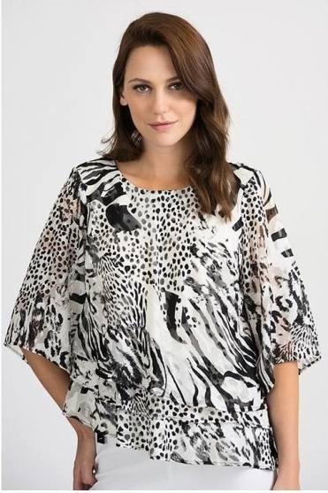 Layered Abstract Print Top - Black/White - 201420