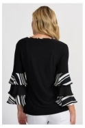 Joseph Ribkoff Layered Sleeve Detail Top - Black/Vanilla - 201279