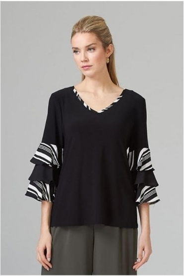 Layered Sleeve Detail Top - Black/Vanilla - 201279