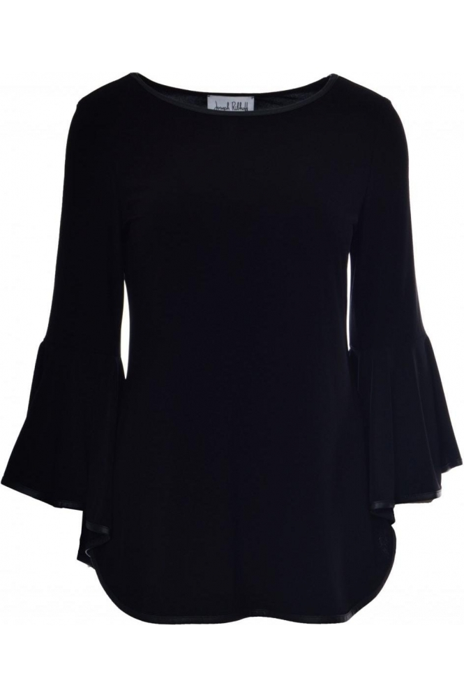 Joseph Ribkoff Leather Trim Flared Sleeve Top (Black) - 184486