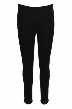 Leather Trim Panel Trousers (Black) - 174305