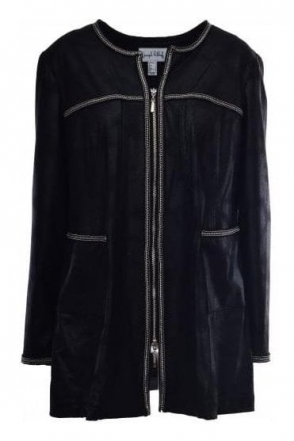 Longline Faux Leather Jacket (Black) - 184381
