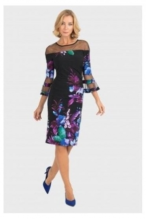 Mesh Insert Floral Ruched Dress - 193651