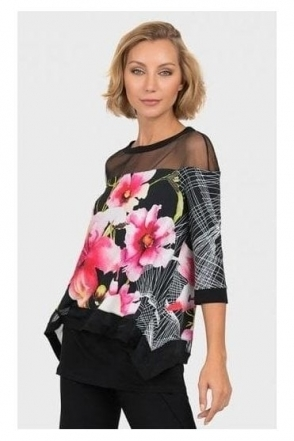 Mesh Insert Floral Tunic - Black - 192643