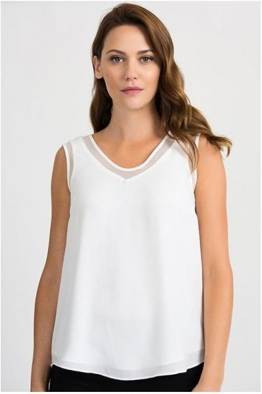 Mesh Insert V-Neck Top - White - 201513