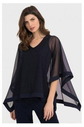 Mesh Overlay Blouse - Midnight - 194294