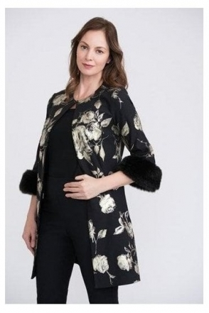 Metallic Floral Fur Cuff Jacket - Black/Gold - 204278