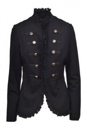 Military Frill Button Detail Jacket (Black) - 173237