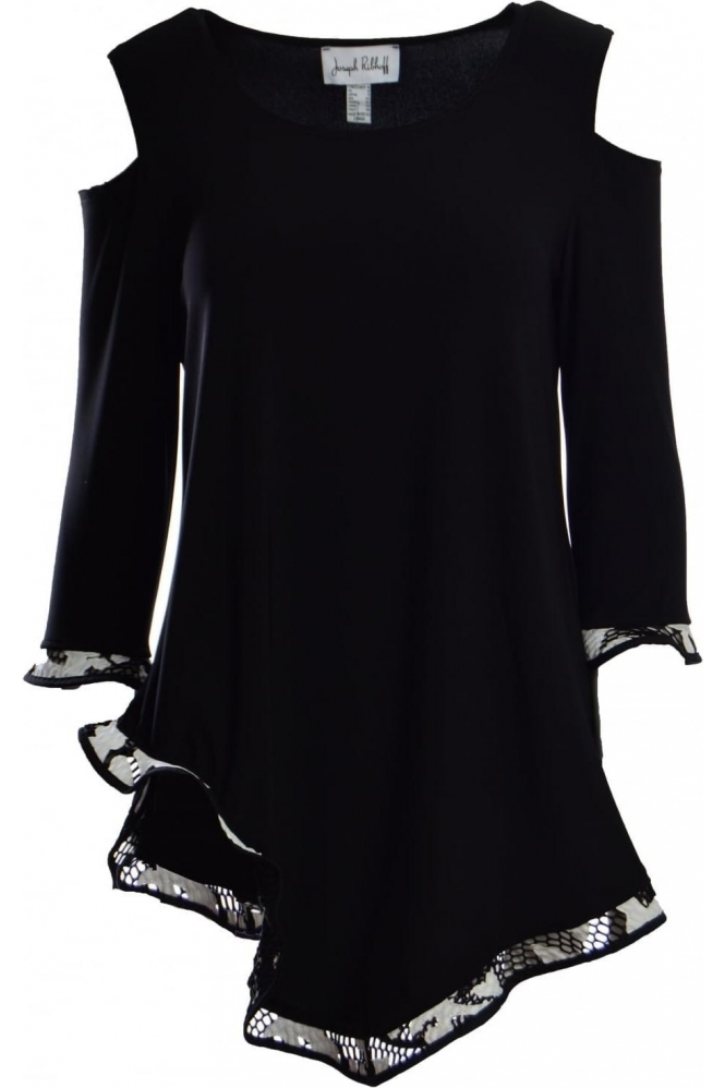 Joseph Ribkoff Monochrome Detail Cold Shoulder Tunic (Black) - 181516