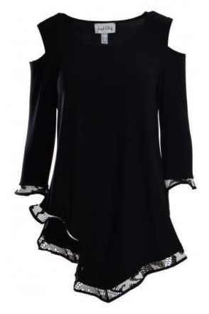 Monochrome Detail Cold Shoulder Tunic (Black) - 181516
