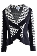 Joseph Ribkoff Monochrome Dogtooth Panel Jacket (Black) - 163886