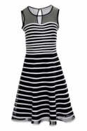 Joseph Ribkoff Monochrome Flare Dress (Black/White) - 171160