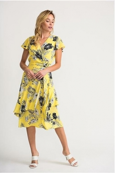 Monochrome Floral Print Wrap Dress - Sunshine/Black  - 202425
