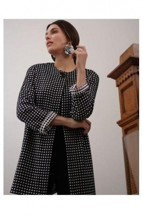 Monochrome Longline Coat - Black/White - 193823