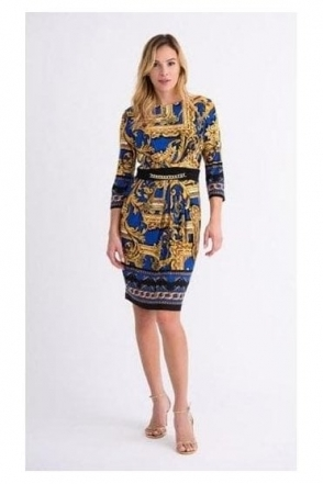 Multi Print Dress - Royal Blue/Black - 193632X