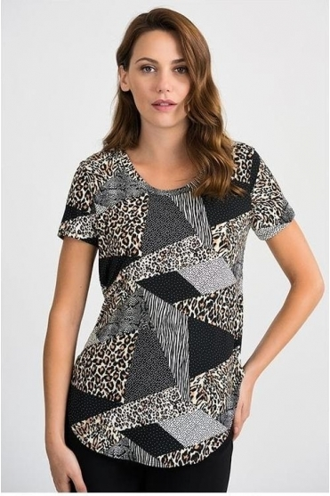 Multi Print Round Hem Top - Black/Multi - 201523
