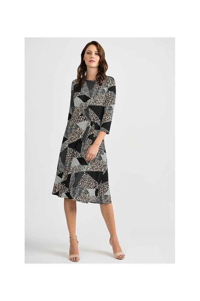 Joseph Ribkoff Multi Print Tie Detail Dress - Black/Multi - 201286