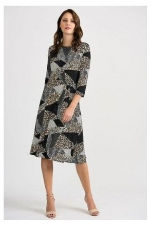 Multi Print Tie Detail Dress - Black/Multi - 201286