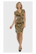 Joseph Ribkoff Multi Print Wrap Dress - Black/Gold - 193590
