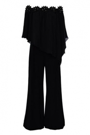 Off The Shoulder Applique Jumpsuit (Black) - 184234