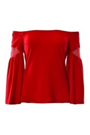 Off The Shoulder Bell Sleeve Top (Red) - 183408