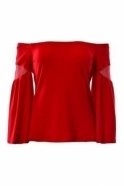 Joseph Ribkoff Off The Shoulder Bell Sleeve Top (Red) - 183408
