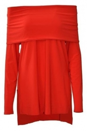 Off The Shoulder Detail Tunic (Red) - 174070
