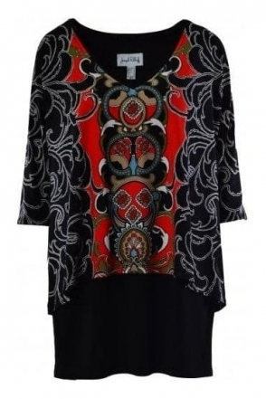 Paisley Print Double Layer Tunic (Black) - 184674
