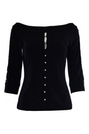 Pearl Detail Blouse (Black) - 183175