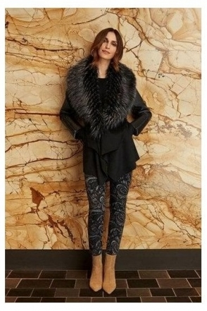 Pleather Fur Trim Coat - Black/Grey - 203116