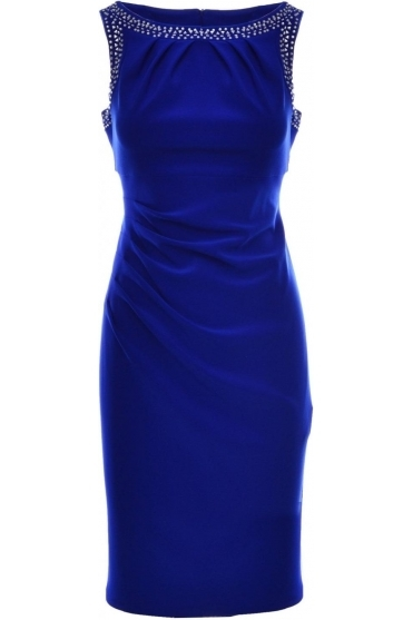 Rhinestones Ruched Dress - 184009