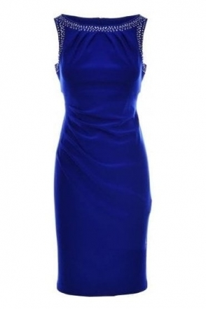 Rhinestones Ruched Dress (Royal Sapphire) - 184009