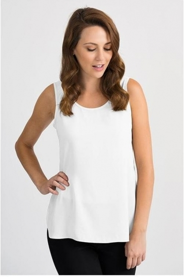 Round Neck Dipped Hem Camisole - White - 201231