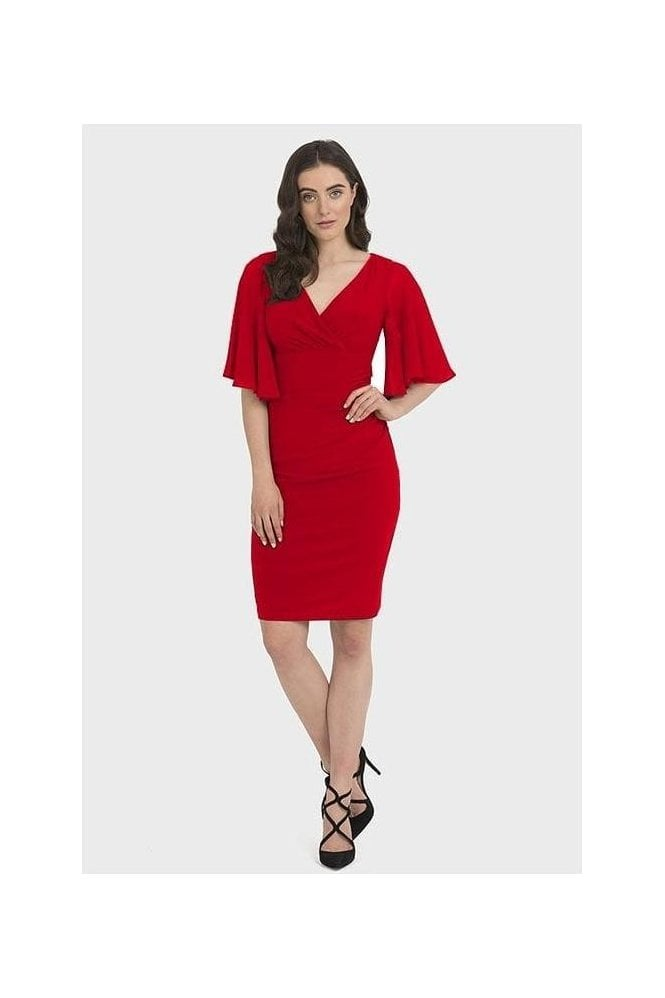 Joseph Ribkoff Ruched Chiffon Sleeved Dress - Lipstick Red - 194013