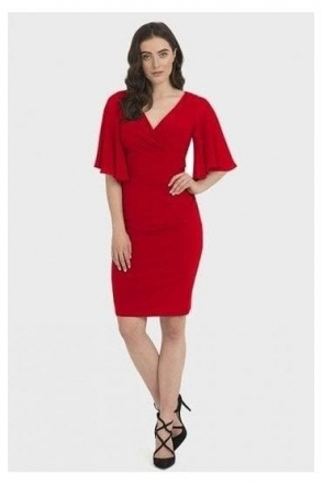 Ruched Chiffon Sleeved Dress - Lipstick Red - 194013