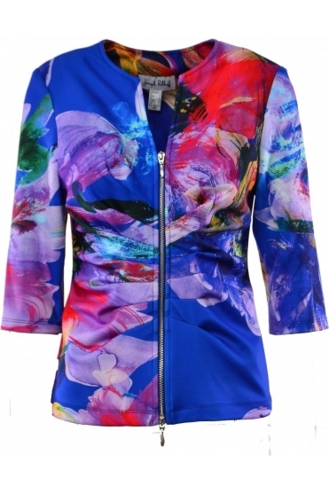 Ruched Floral Print Zip Jacket -183752X