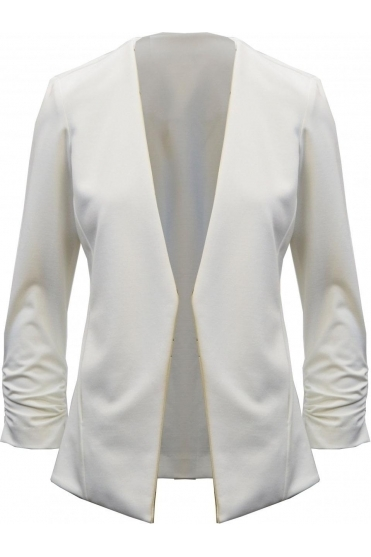 Ruched Sleeve Open Blazer (Vanilla) - 191383
